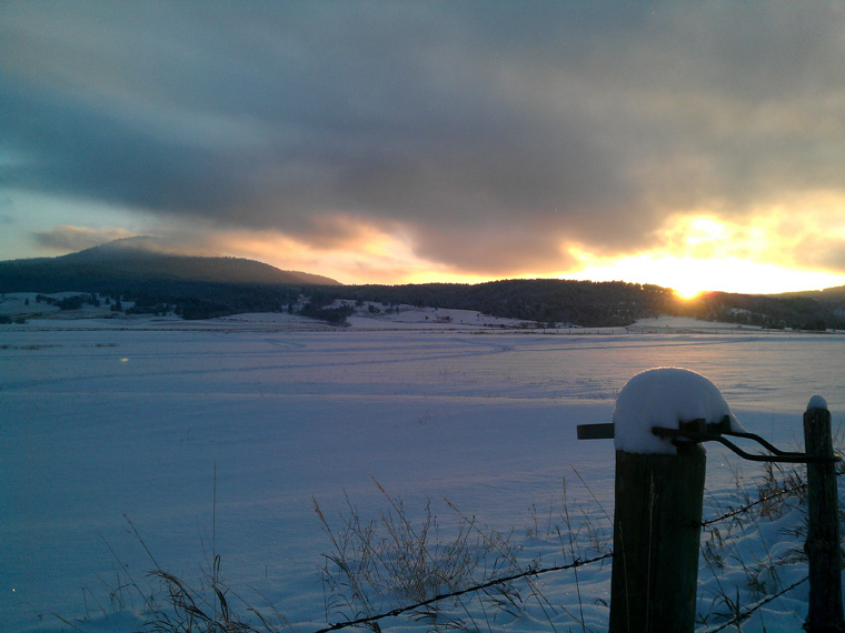 Sunset and first significant snow, November 19, 2011