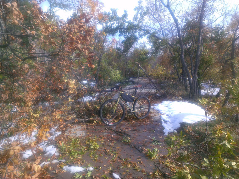Post-blizzard trail work on the Spearfish bike path