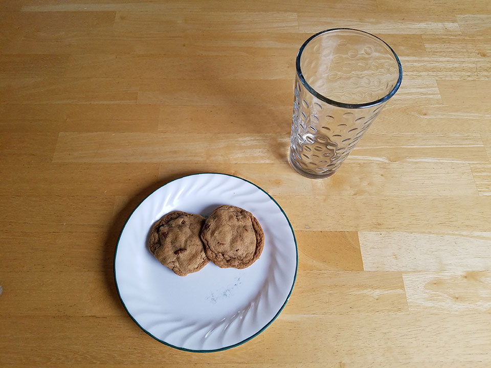 Two cassava flour pecan chocolate chip cookies