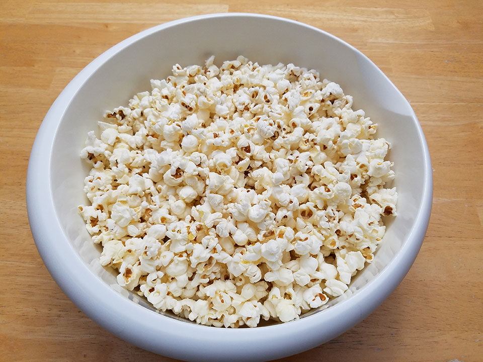 Popcorn. How do you watch a movie without popcorn? Besides, I think I read somewhere that popcorn is exempt from intermittent fasting protocols. :)