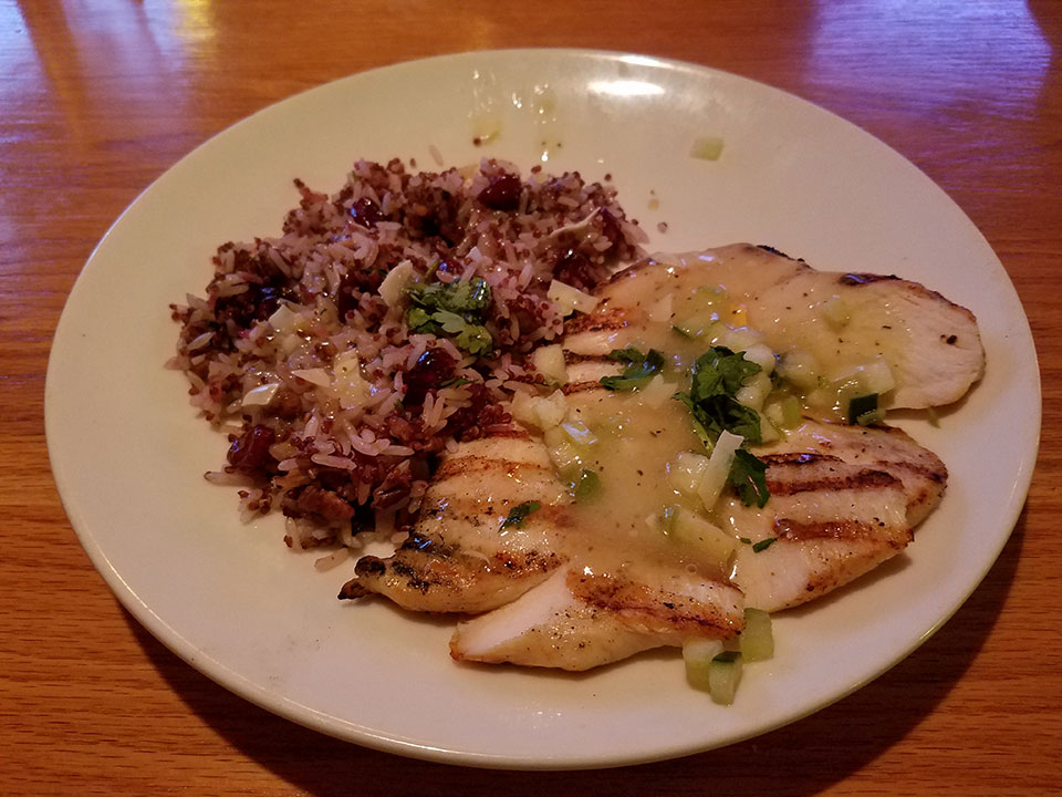 Applebee's Sweet and savory grilled chicken, rice, quinoa