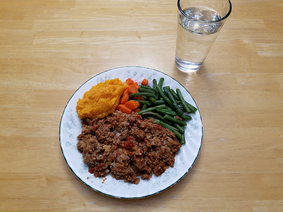 Porcupine meatballs, green beans, carrots, and sweet potatoes