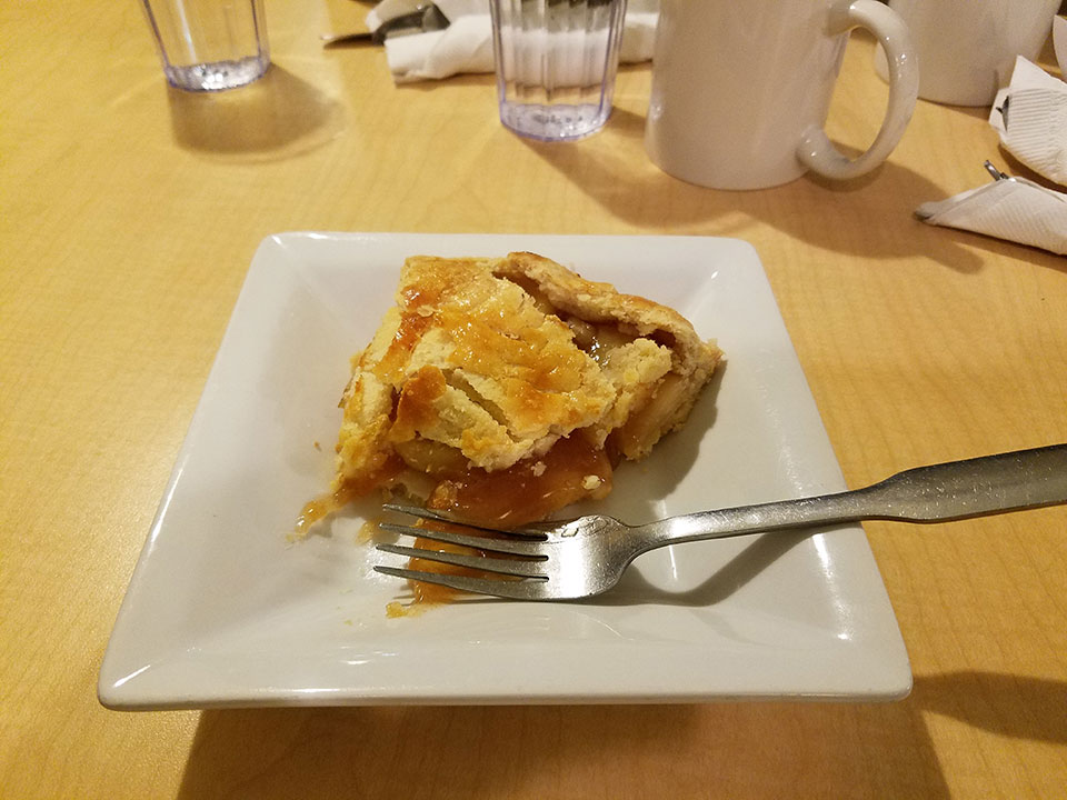 Apple pie and decaf coffee at Perkins. Hopefully this won't become a regular practice.