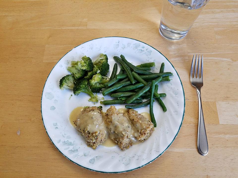 Paleo chicken tenders, paleo honey mustard sauce, green beans, broccoli