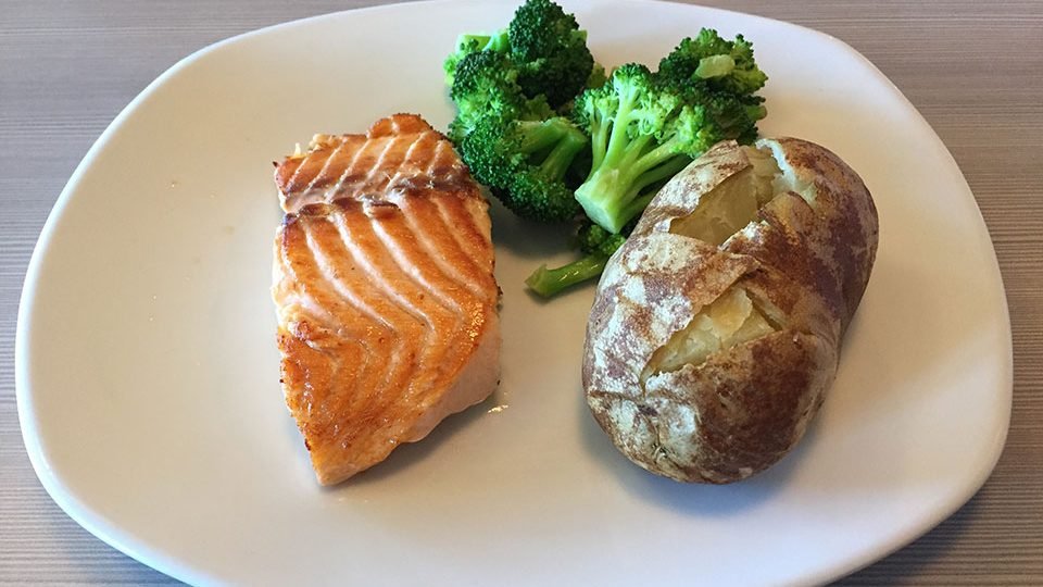 Perkins with Amy - salmon, broccoli, baked potato
