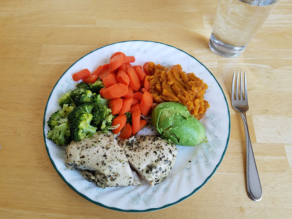 Chicken breast, broccoli, carrots, squash, avocado
