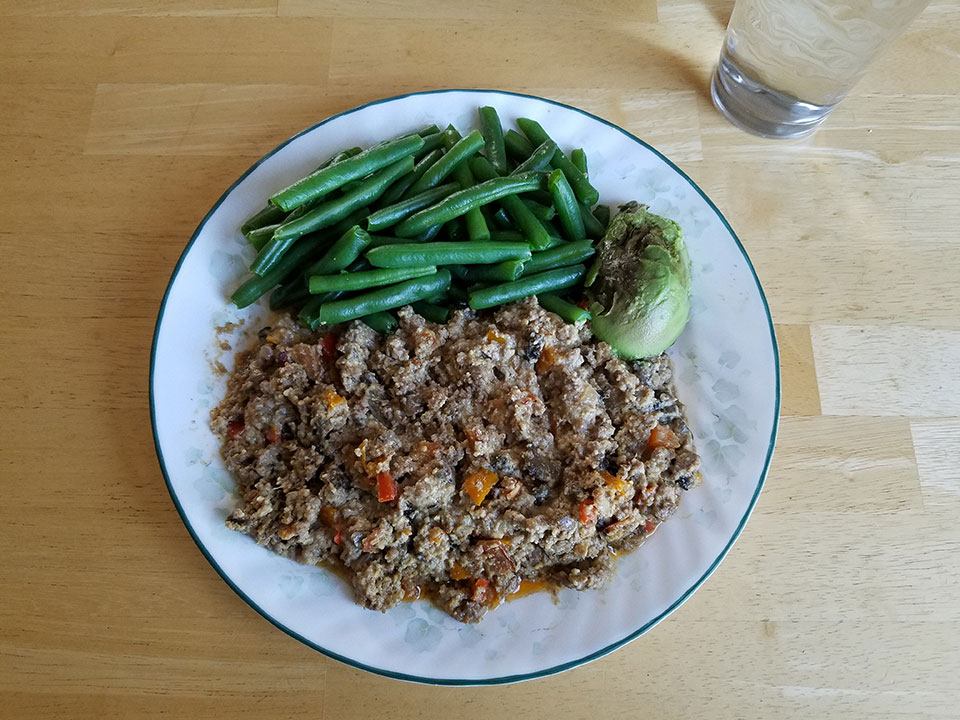 Paleo bacon cheeseburger casserole, green beans, avocado