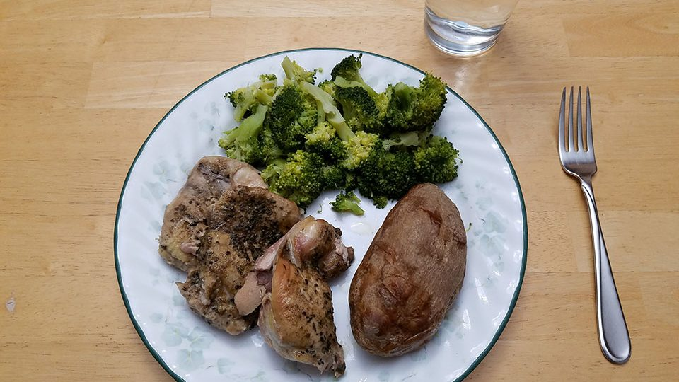 Chicken thighs (3), broccoli, baked potato