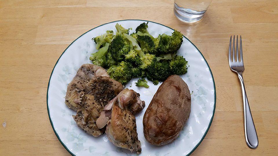 Chicken thighs (3), broccoli, baked potato