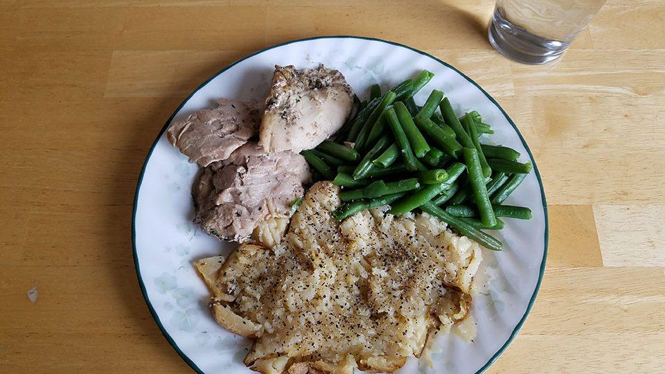 Chicken thighs (2), green beans, baked potato