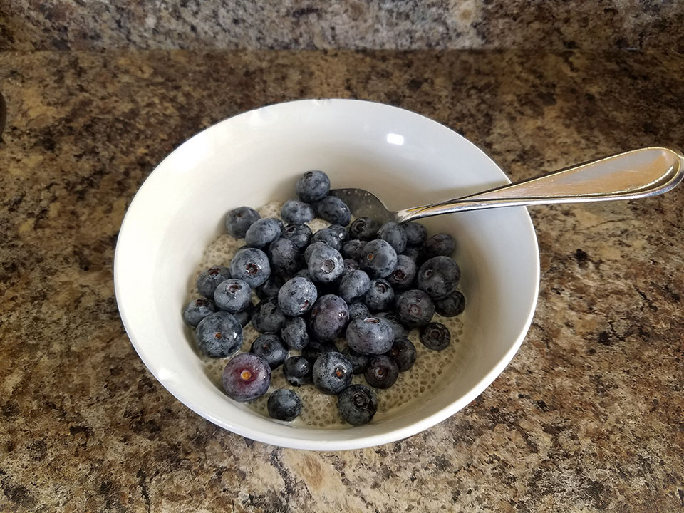 Chia seed pudding (homemade), blueberries, 1 scoop protein powder