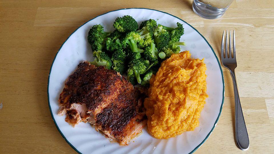 Baked salmon, broccoli, sweet potatoes