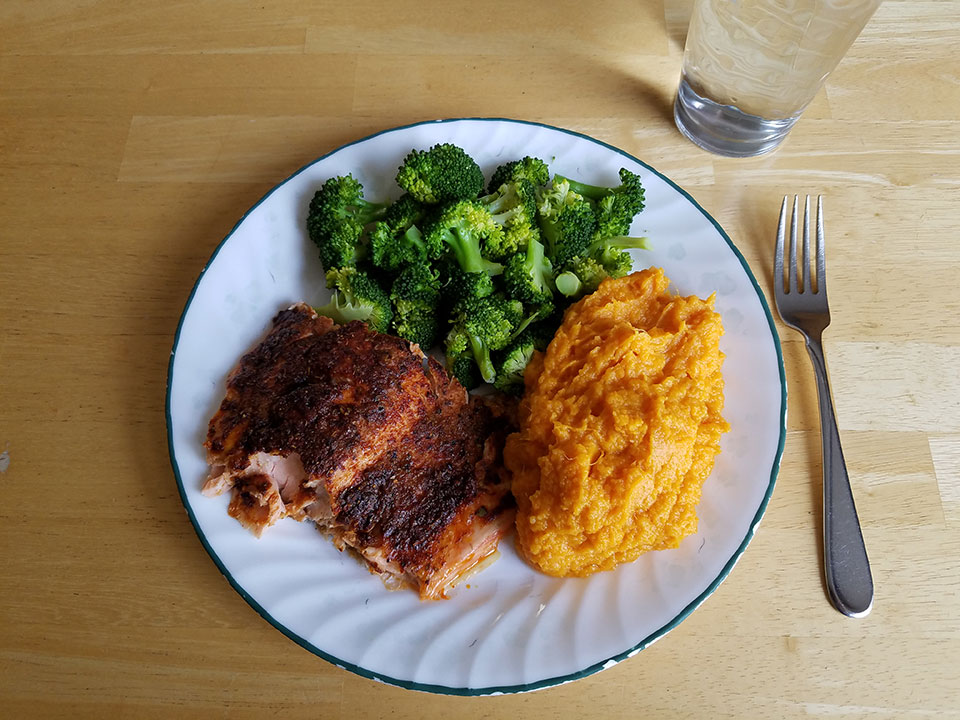Baked salmon, broccoli, sweet potatoes