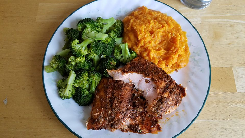 Salmon (cold!), broccoli, sweet potatoes. This is about as close to food perfection as we can hope to reach in this life. :)