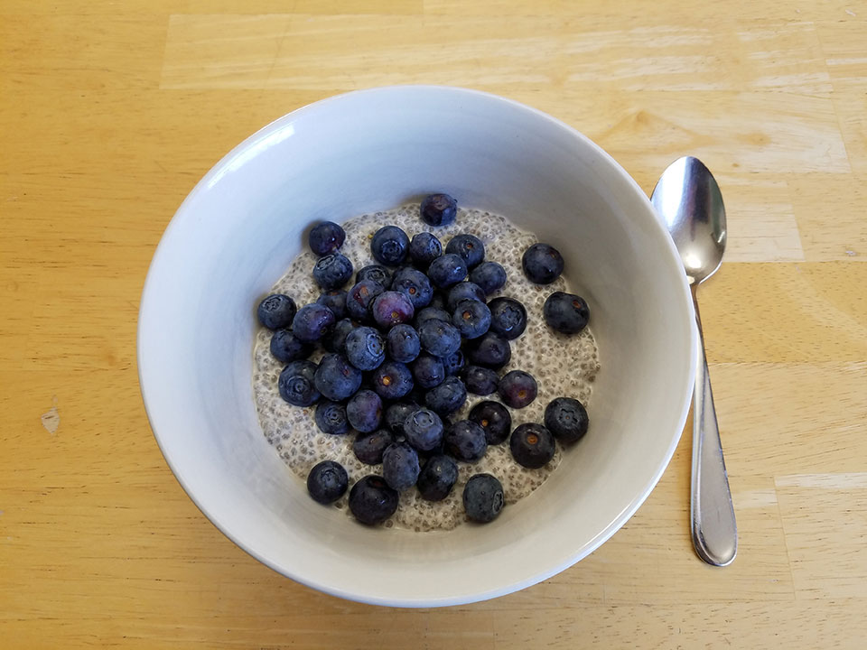 Chia seed pudding, blueberries, 1 scoop protein powder