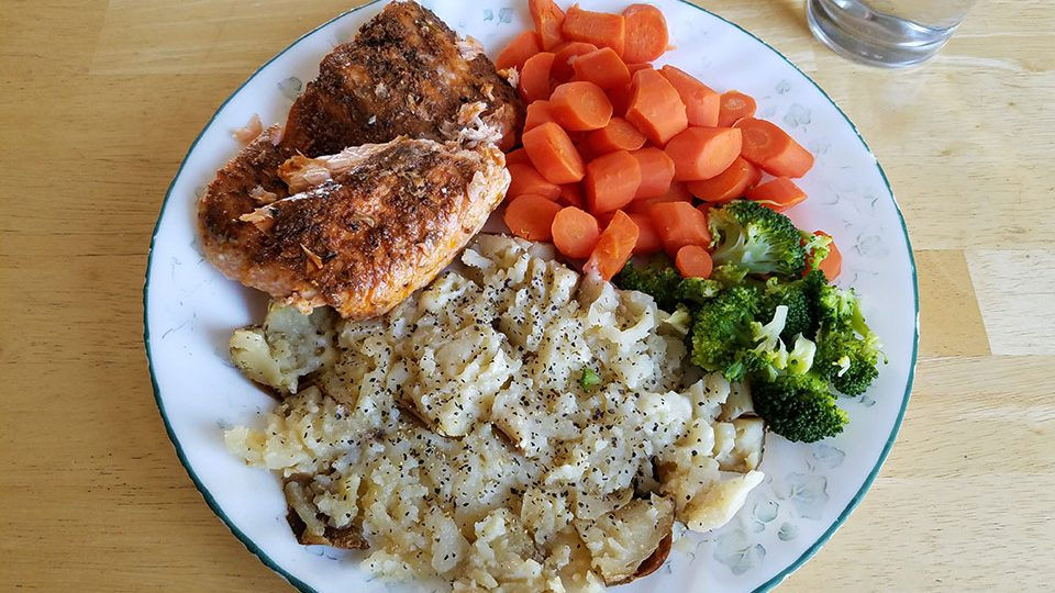 Salmon, carrots, broccoli, baked potato