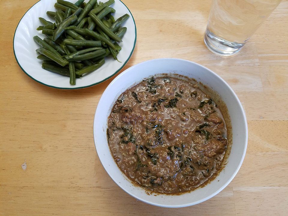 Moroccan beef stew, green beans