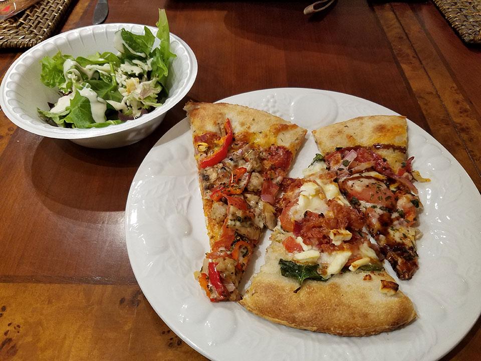 Dough Trader pizza and salad