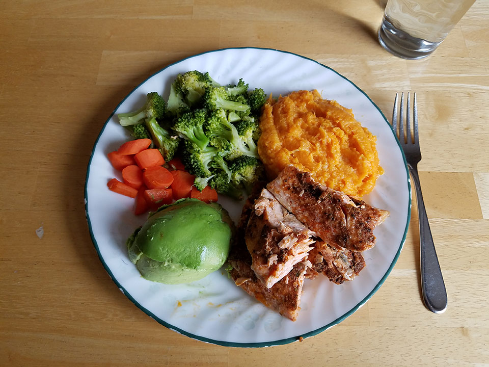 Salmon, avocado, carrots, broccoli, sweet potatoes