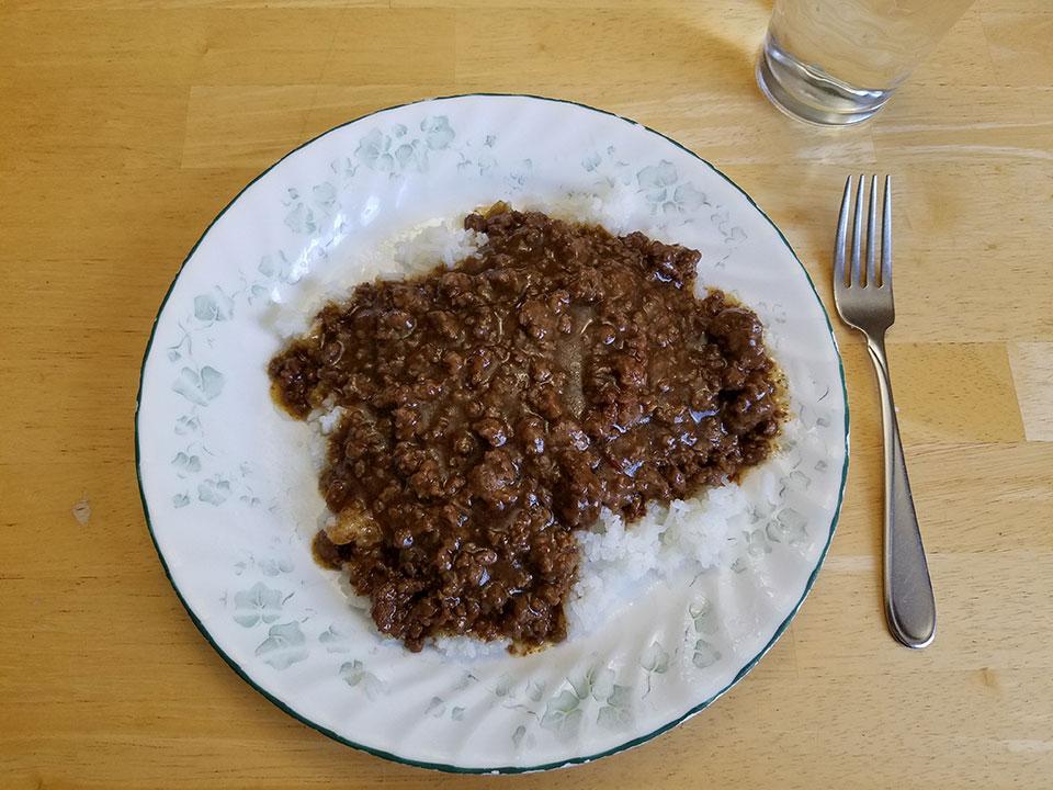 Mongolian beef, rice