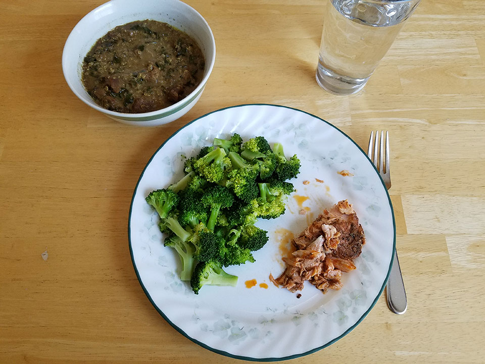 Moroccan beef stew, broccoli, and the last of the salmon