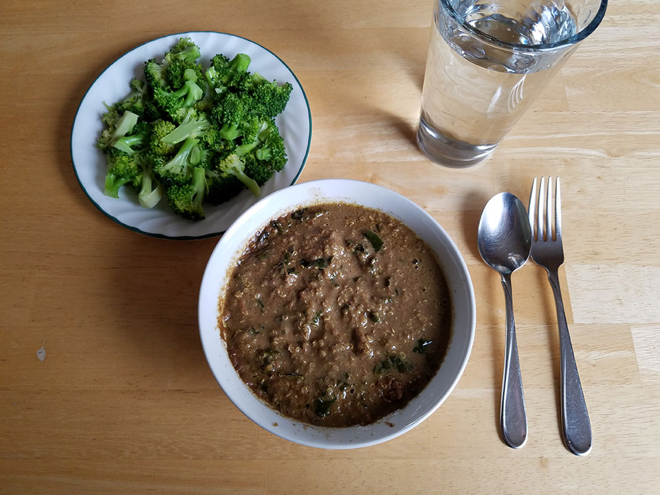 Moroccan beef stew, broccoli