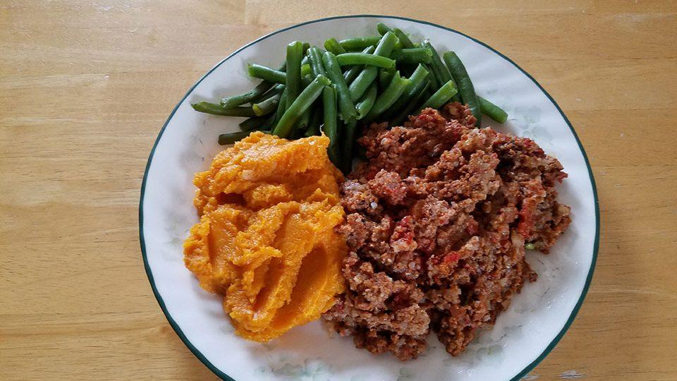 Porcupine meatballs, green beans, sweet potatoes