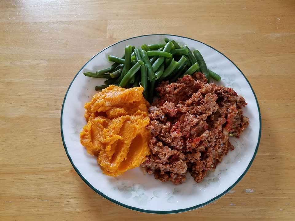 Porcupine meatballs, green beans, sweet potatoes