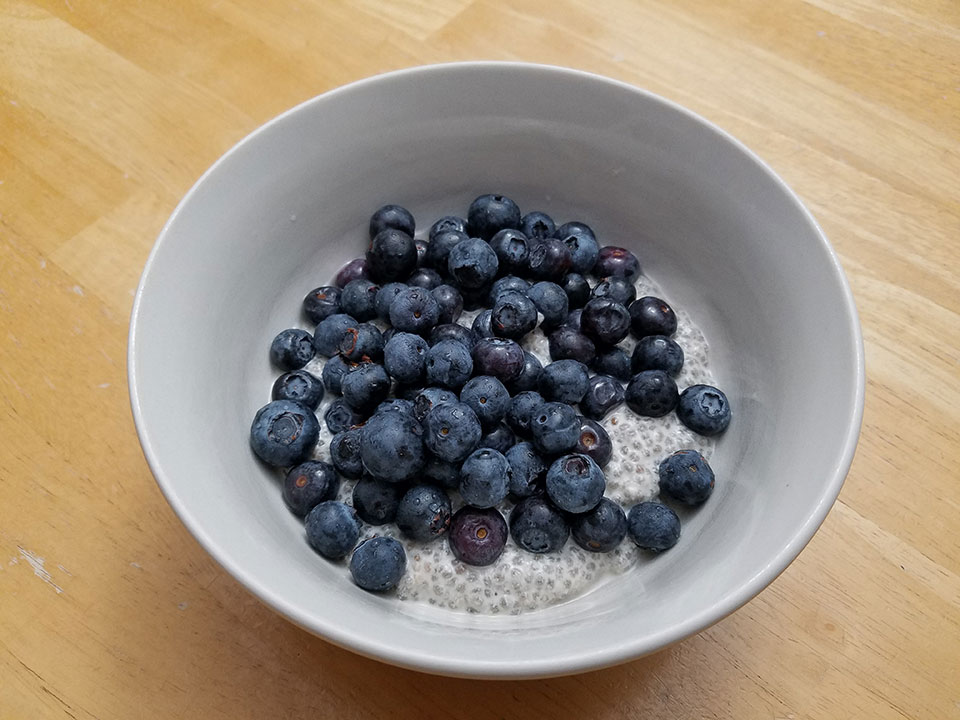 Chia seed pudding, blueberries, 1 scoop protein powder. Needed to eat something with Prednisone.