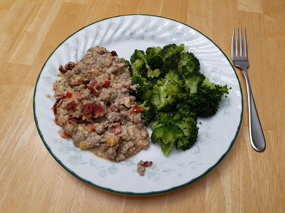 Paleo bacon cheeseburger casserole, broccoli