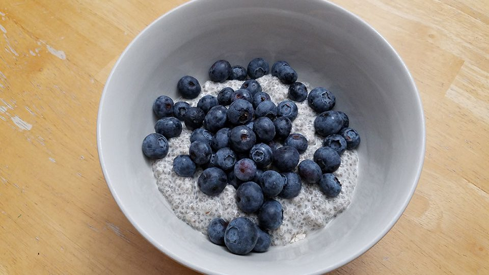 Chia seed pudding, blueberries, 1 scoop protein powder - with Prednisone