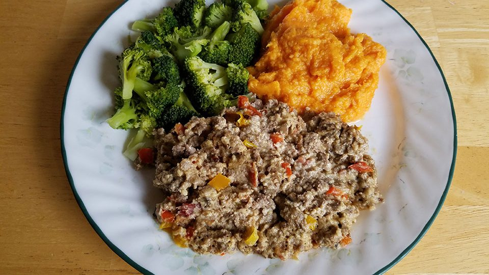 Paleo bacon cheeseburger casserole, broccoli, sweet potatoes