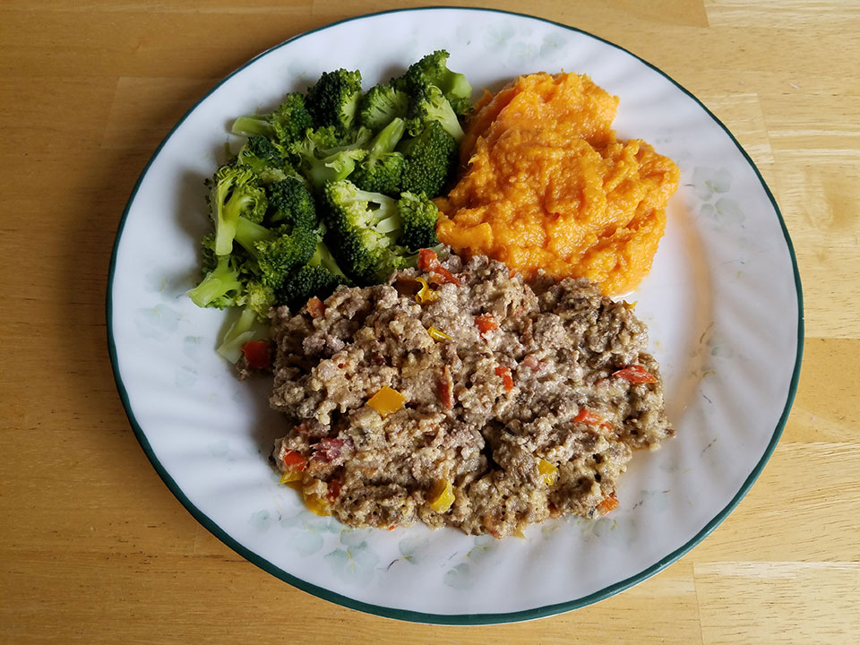 Paleo bacon cheeseburger casserole, broccoli, sweet potatoes