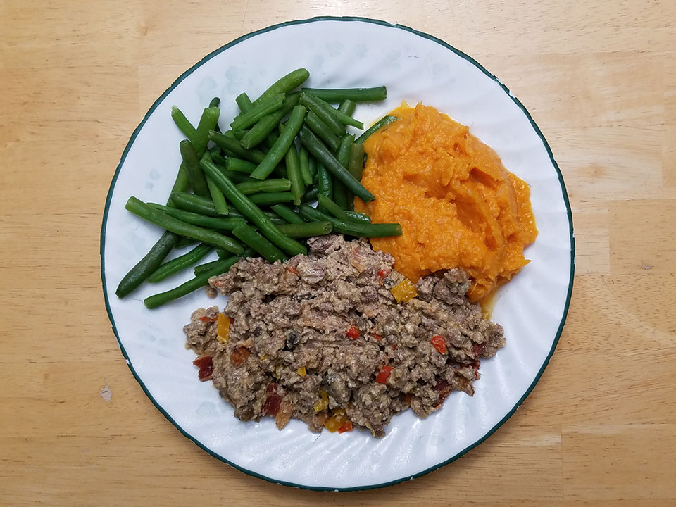 Paleo bacon cheeseburger casserole, green beans, sweet potatoes