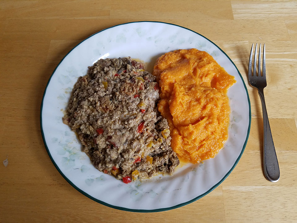 Paleo bacon cheeseburger casserole, sweet potatoes