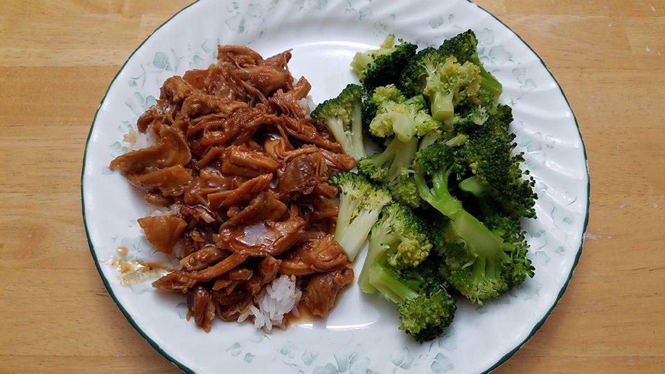 Orange sesame chicken, rice, broccoli