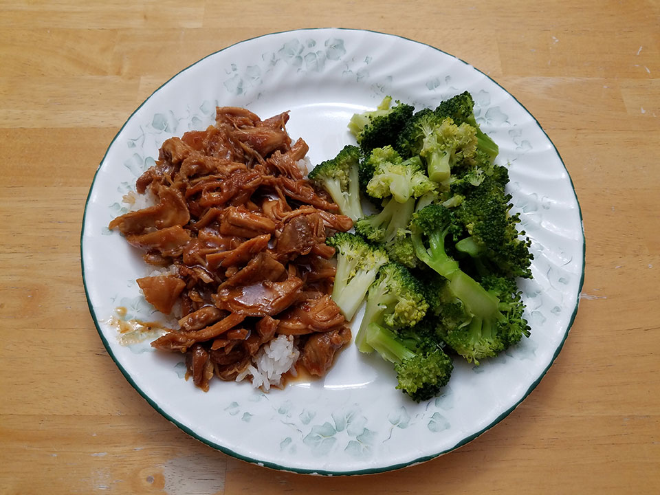 Orange sesame chicken, rice, broccoli