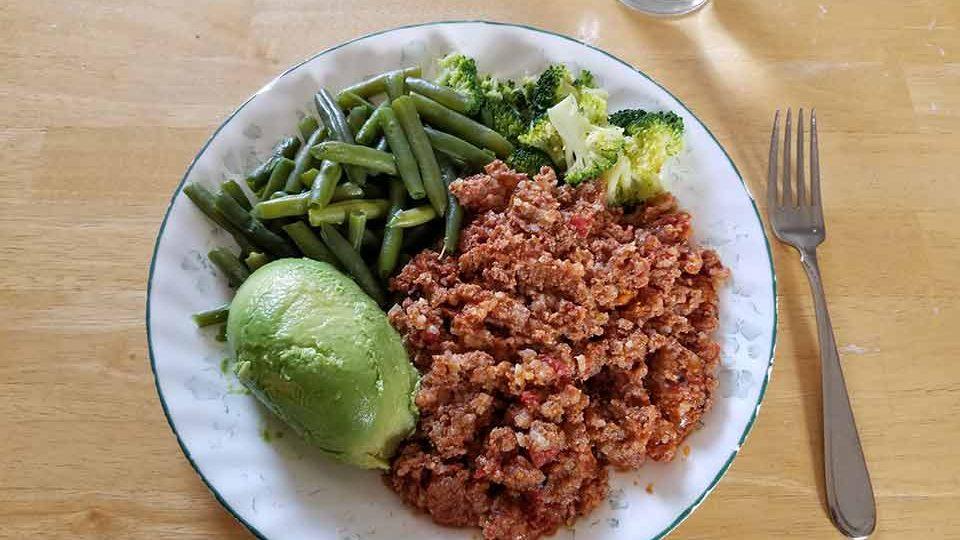 Porcupine meatballs, broccoli, green beans, avocado