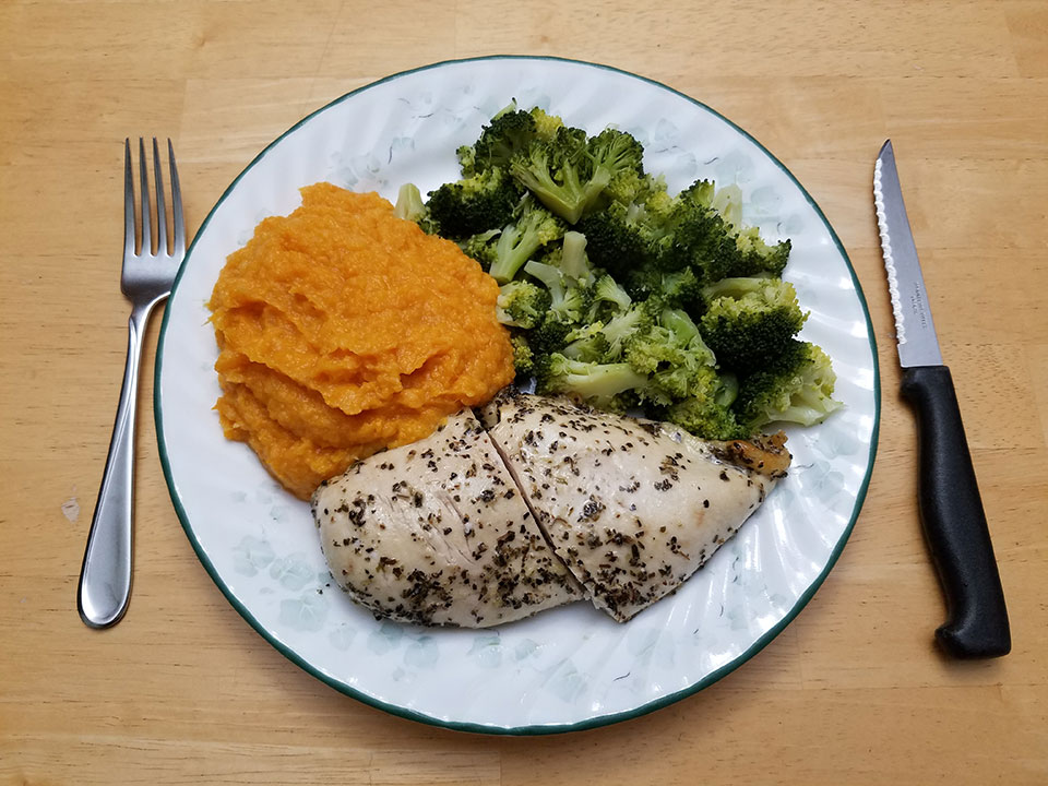 Chicken breast, broccoli, sweet potatoes