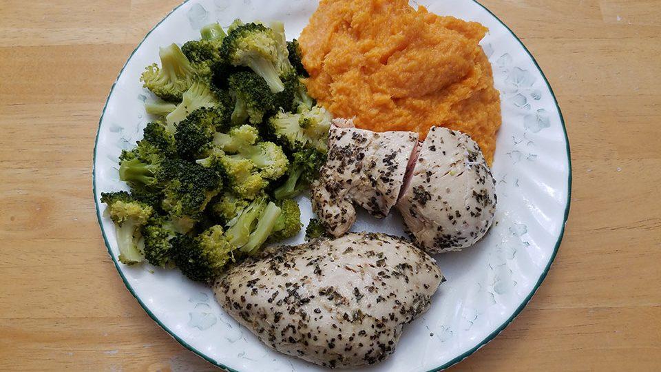 Chicken breast, broccoli, sweet potatoes