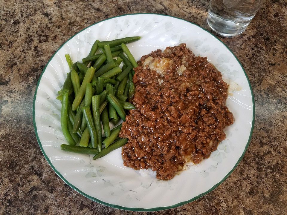 Mongolian ground beef, rice, green beans