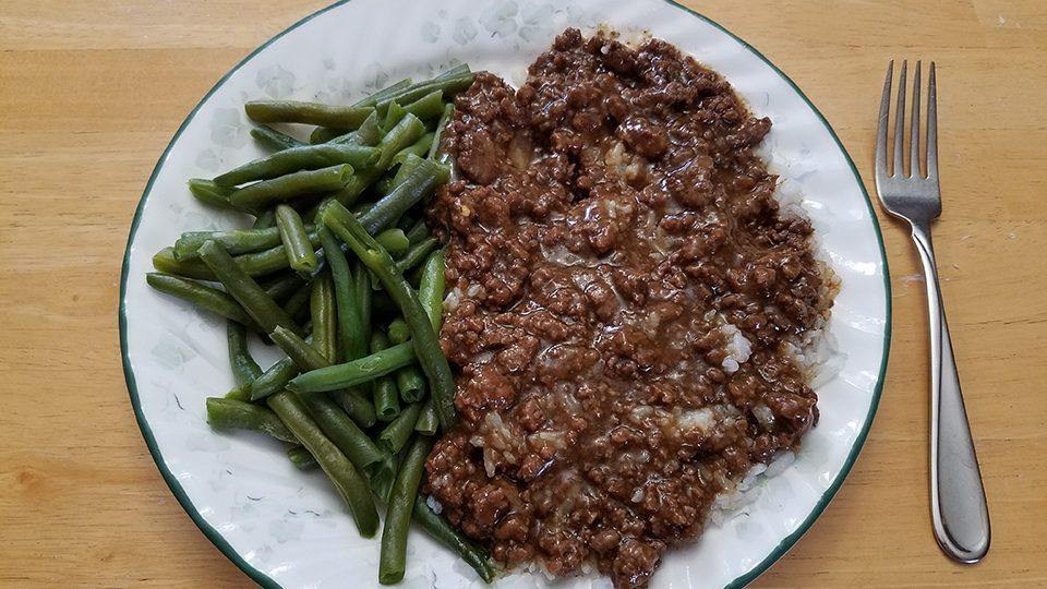 Mongolian beef, rice, green beans