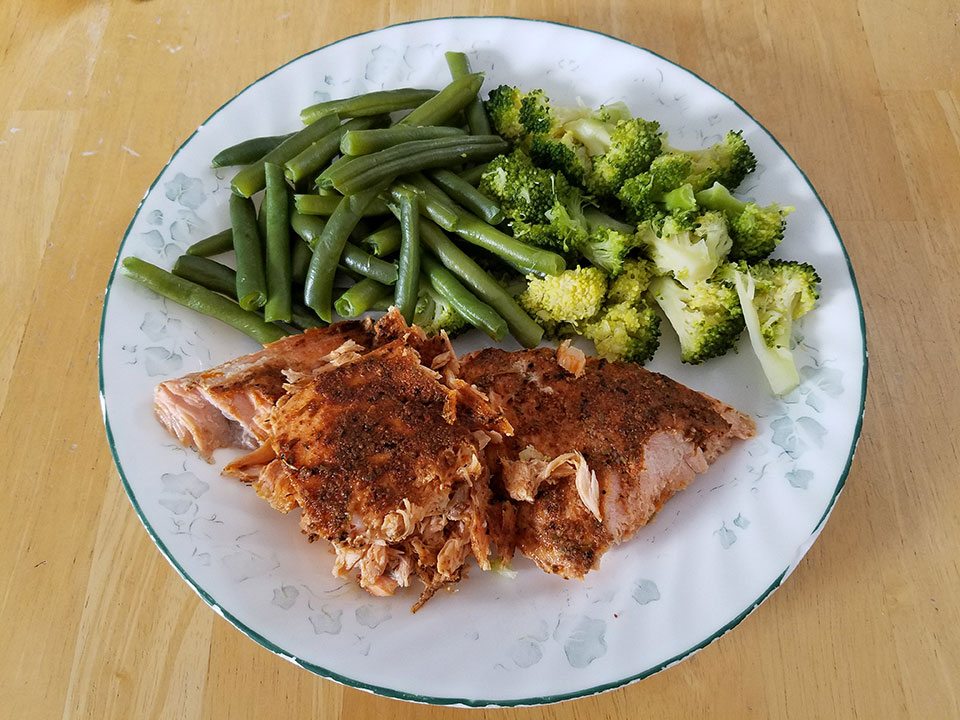 Salmon, broccoli, green beans
