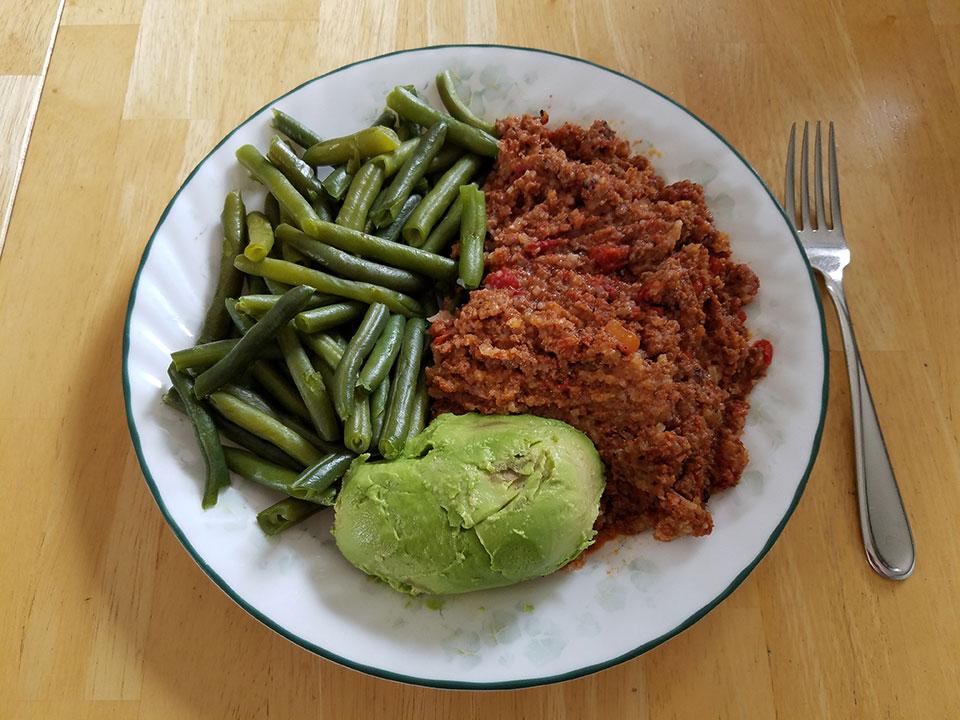 Porcupine meatballs, green beans, avocado