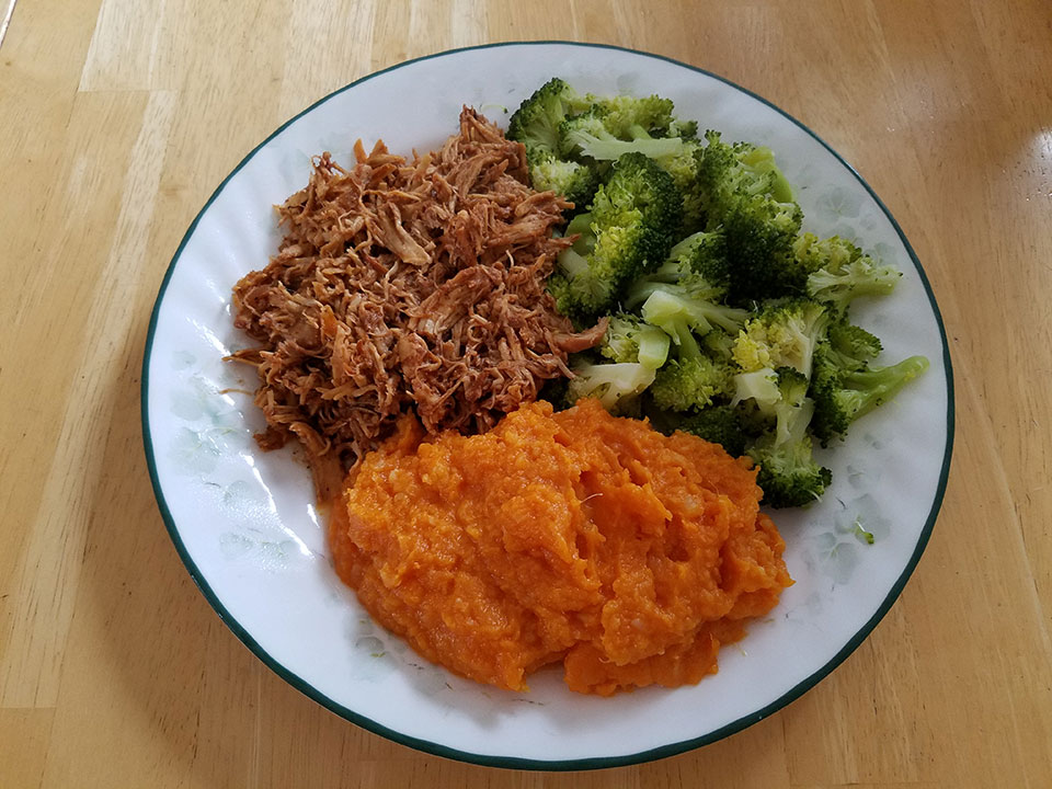 Pulled barbecue chicken, broccoli, sweet potatoes