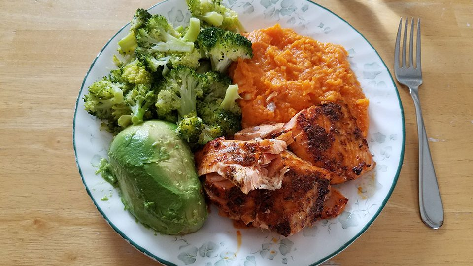 Salmon, broccoli, sweet potatoes, avocado