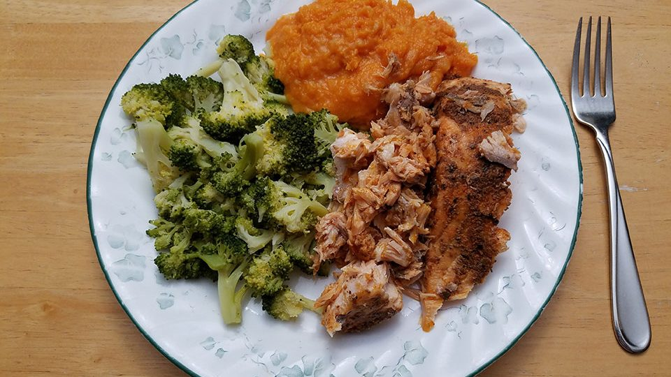 Salmon, broccoli, sweet potatoes