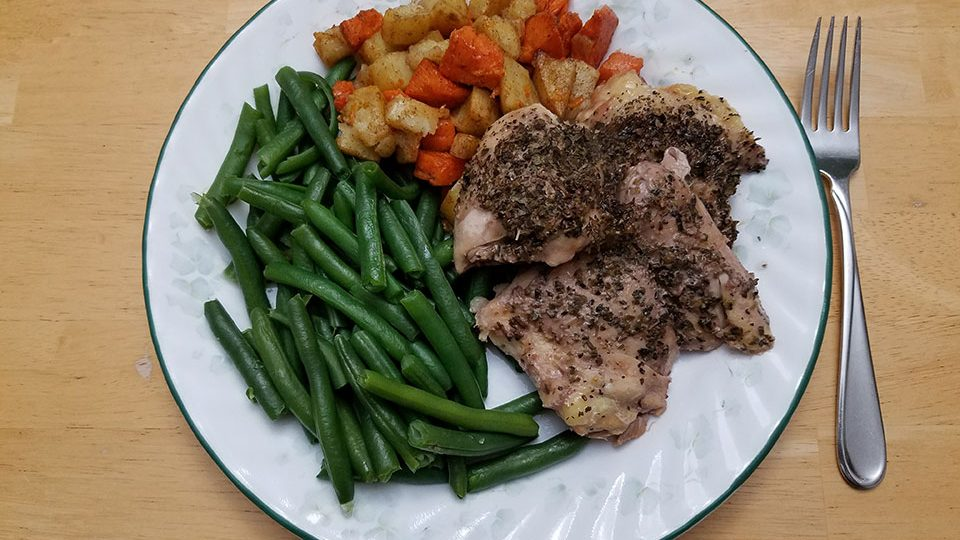 Chicken thighs, green beans, roasted sweet potatoes