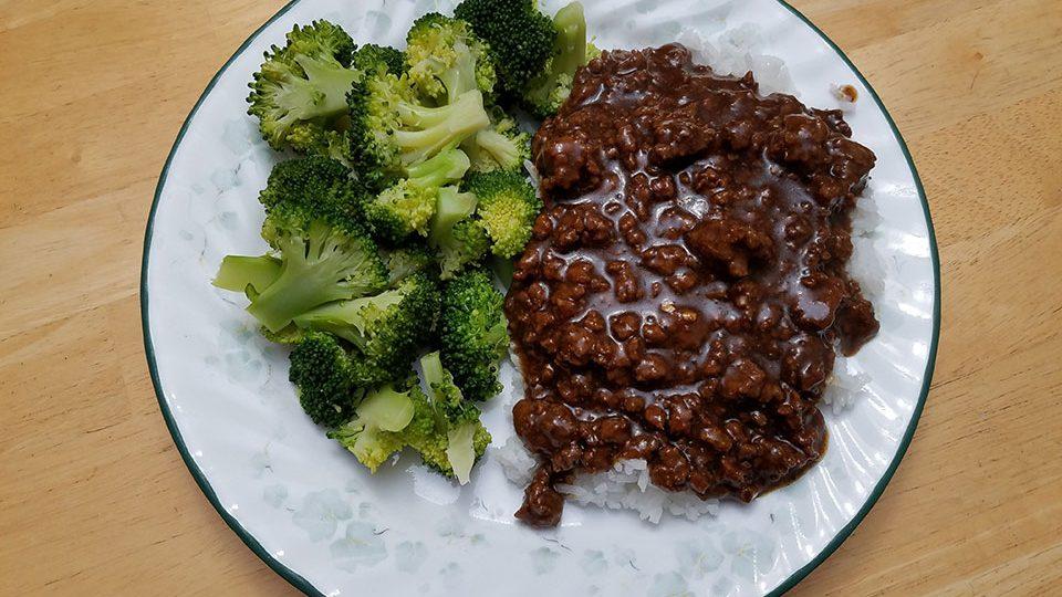 Mongolian beef, rice, broccoli