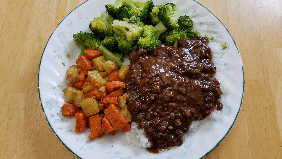 Mongolian beef, rice, broccoli, roasted sweet potatoes